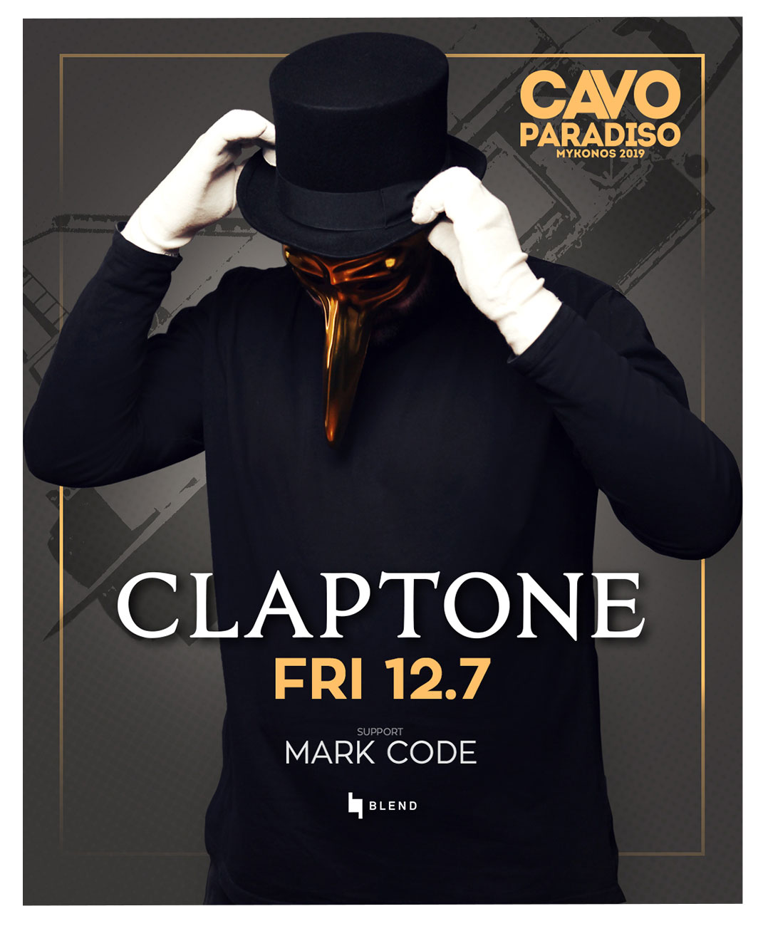 Claptone w/ support by Mark Code